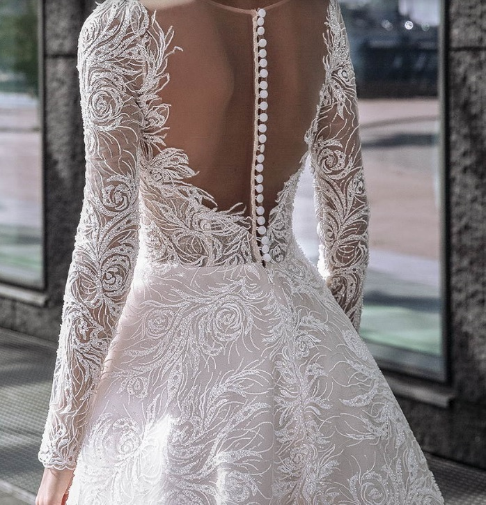 Meline: Ivory Beaded Embroidery Lace