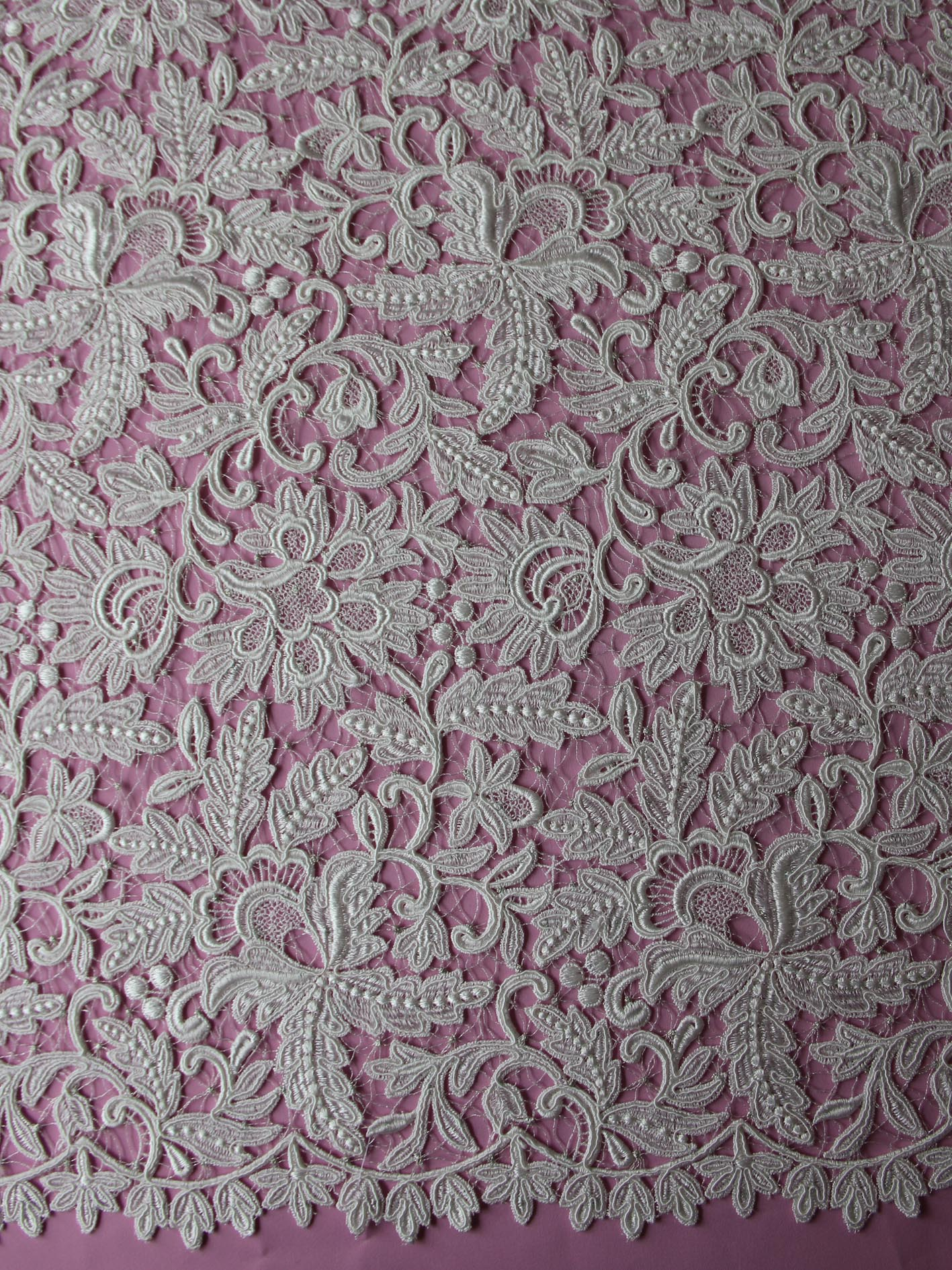 Ivory Embroidered Lace - serena